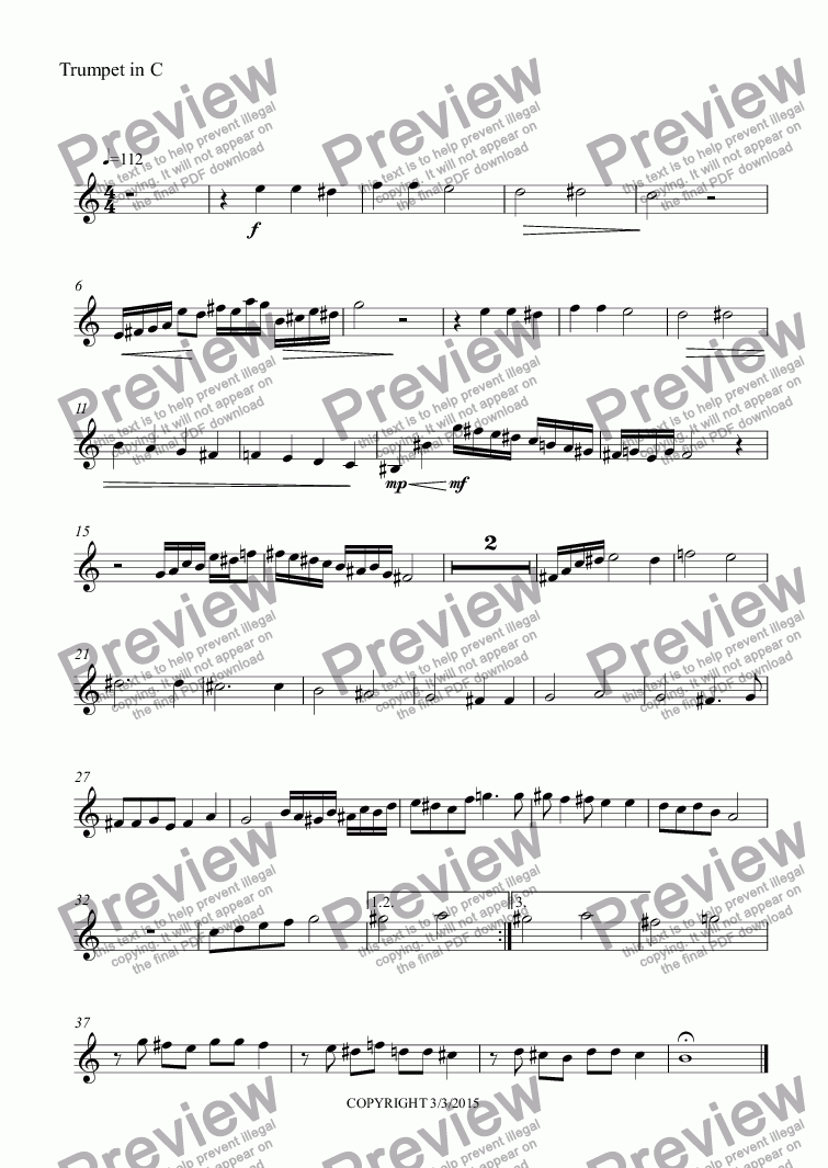 page one of the Trumpet in C part from SOMETHING TO DO