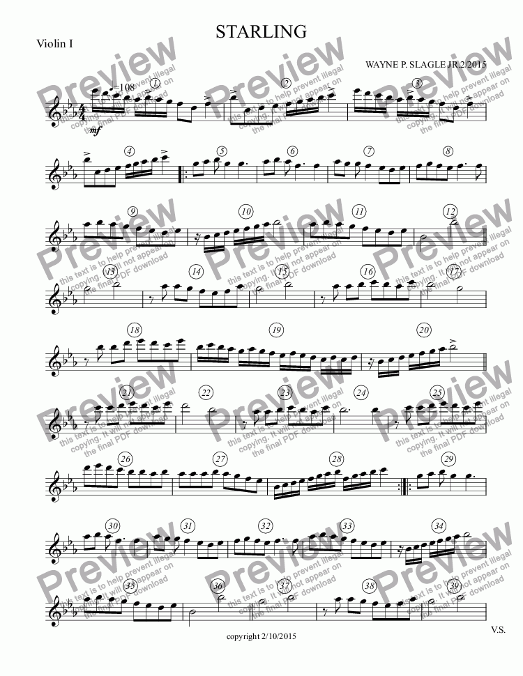 page one of the Violin I part from STARLING