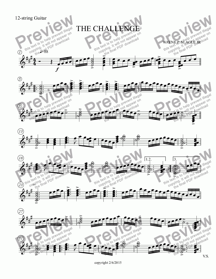page one of the 12-string Guitar part from THE CHALLENGE