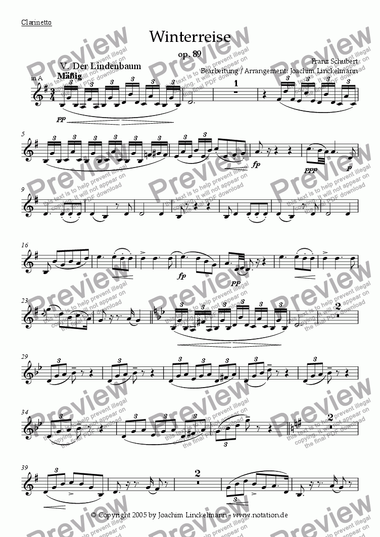 "page one of the Clarinet in A part from Schubert's ""Winterreise"" for woodwind quintet and tenor 5. ""Der Lindenbaum"""