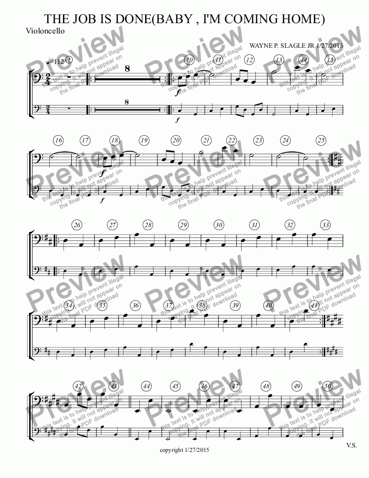 page one of the Violoncello part from THE JOB IS DONE(BABY , I'M COMING HOME)