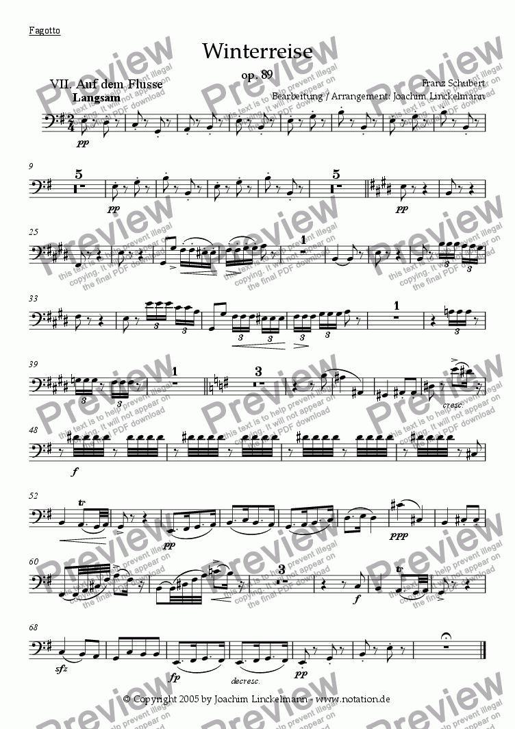 "page one of the Bassoon part from Schubert's ""Winterreise"" for woodwind quintet and tenor 7. ""Auf dem Flusse"""