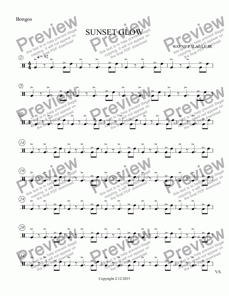 page one of the Bongos part from SUNSET GLOW