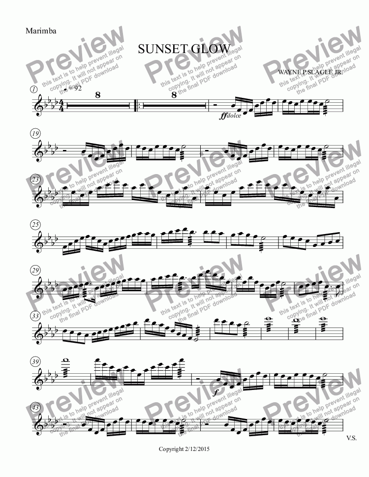 page one of the Marimba part from SUNSET GLOW