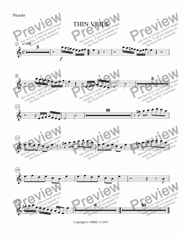 page one of the Piccolo part from THIN VEILS