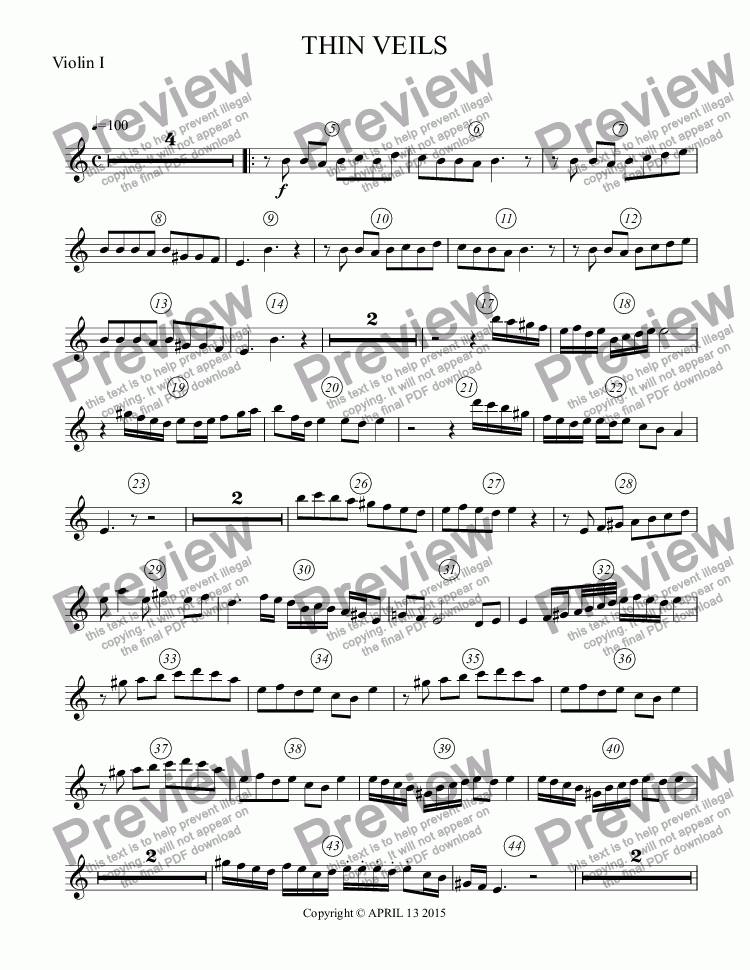 page one of the Violin I part from THIN VEILS