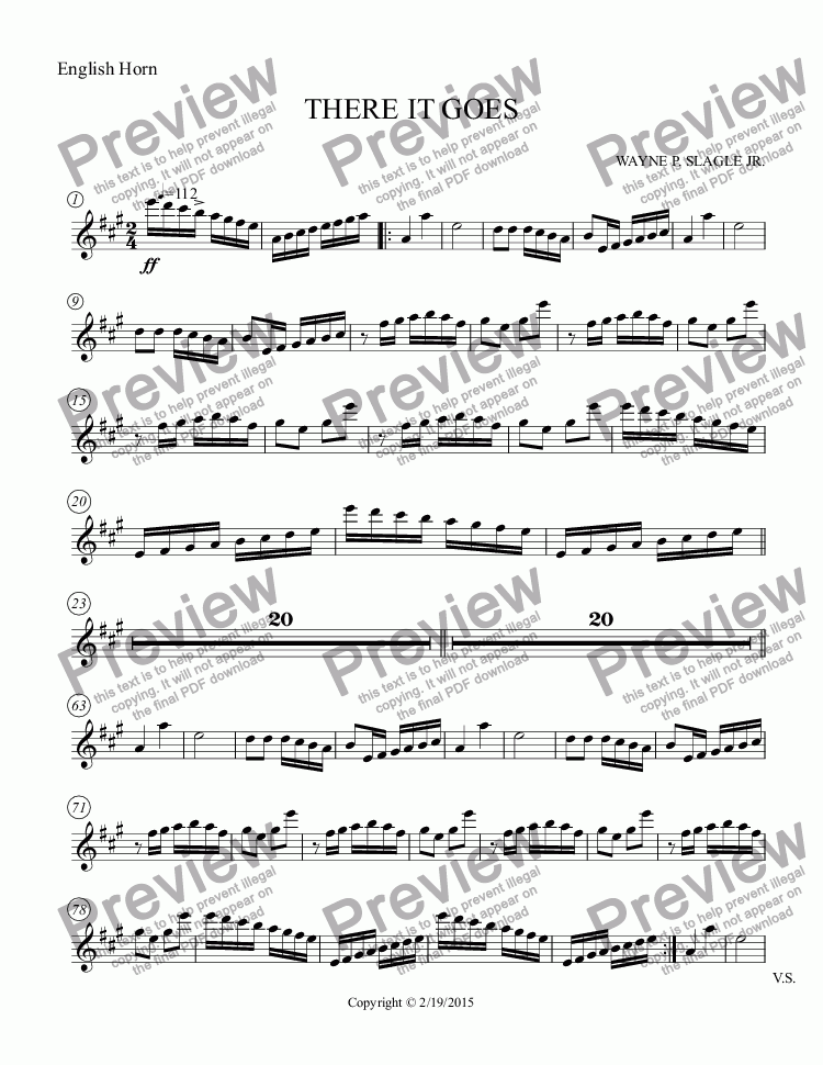 page one of the English Horn part from THERE IT GOES