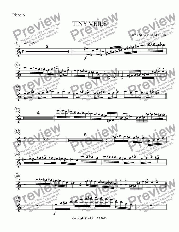 page one of the Piccolo part from TINY VEILS
