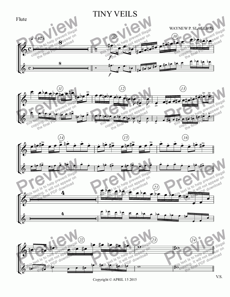 page one of the Flute part from TINY VEILS