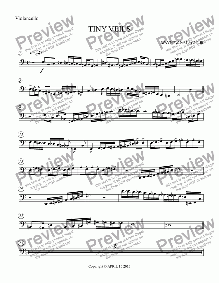 page one of the Violoncello part from TINY VEILS