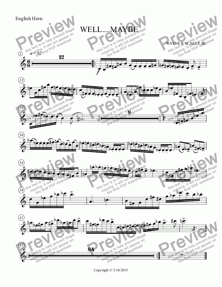 page one of the English Horn part from WELL....MAYBE