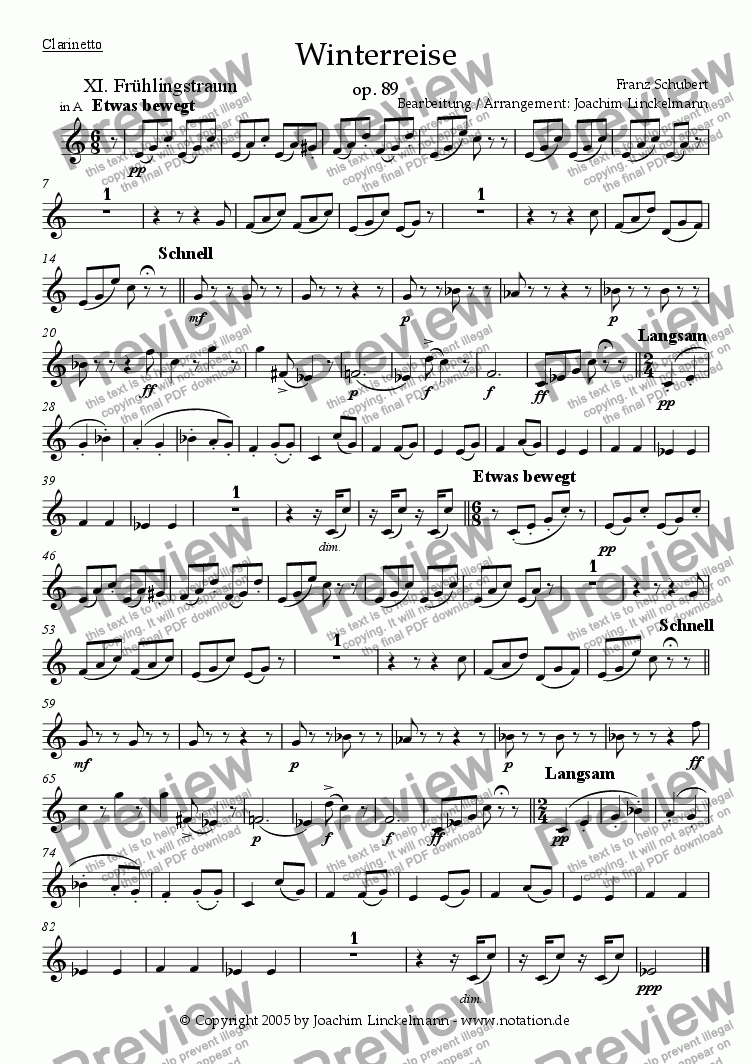 "page one of the Clarinet in A part from Schubert's ""Winterreise"" for woodwind quintet and tenor 11. ""Frühlingstraum"""