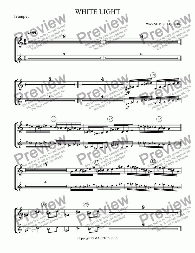 page one of the Trumpet part from WHITE LIGHT