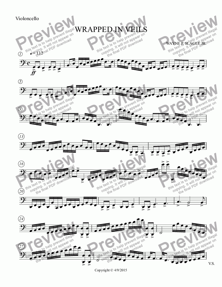 page one of the Violoncello part from WRAPPED IN VEILS