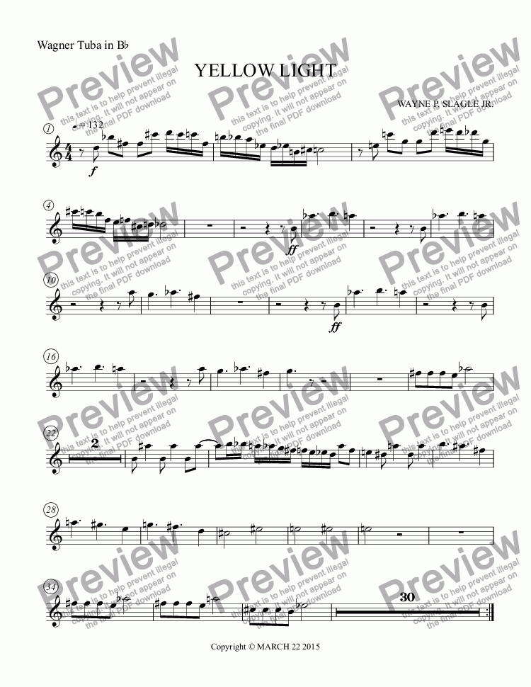 page one of the Wagner Tuba in B^b part from YELLOW LIGHT