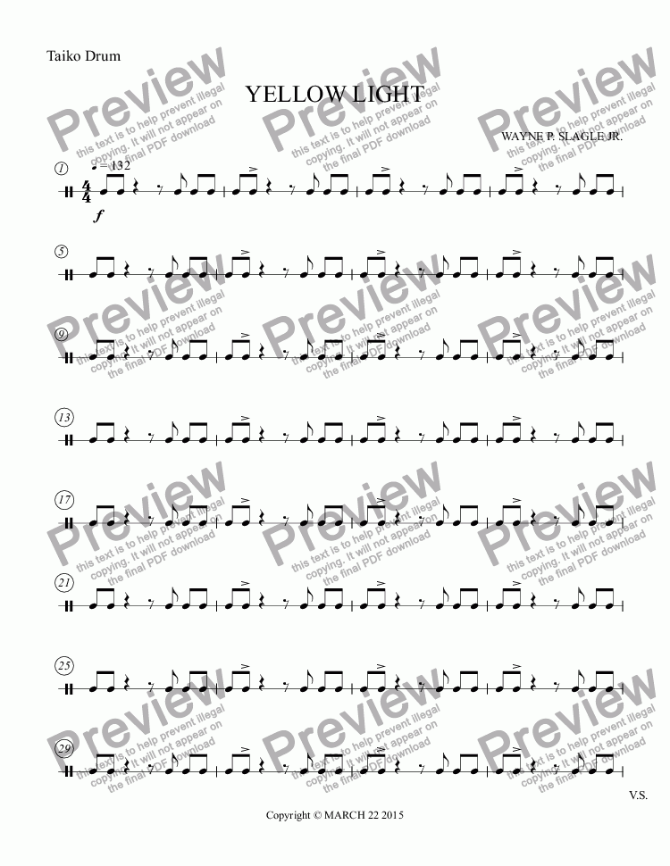 page one of the Taiko Drum part from YELLOW LIGHT