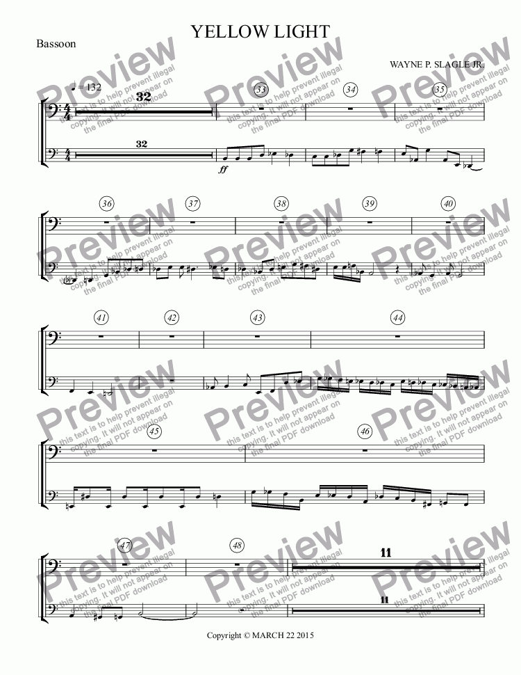 page one of the Bassoon part from YELLOW LIGHT