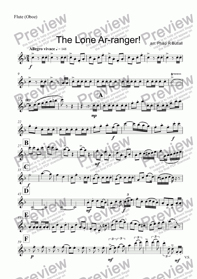 page one of the Flute (Oboe) part from The Lone Ar-ranger! (Woodwind Trio)