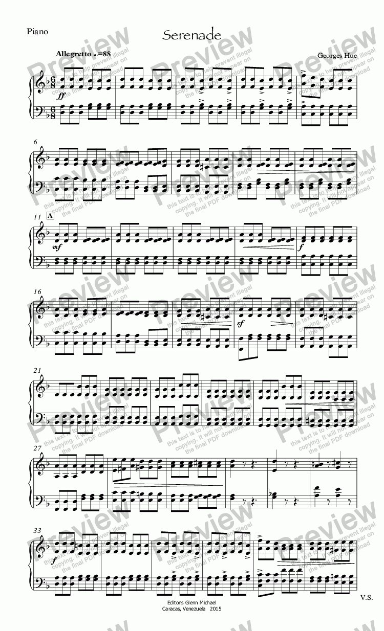 page one of the Piano part from Hue, Serenade for flute & pno