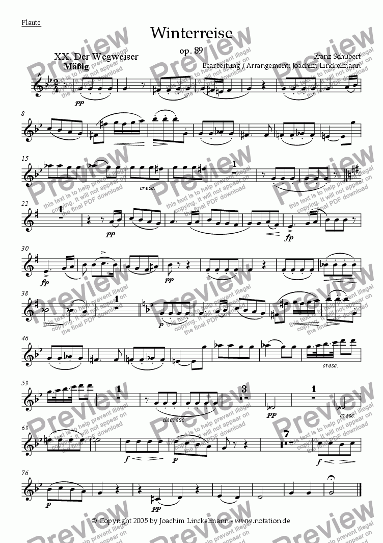 "page one of the Flute part from Schubert's ""Winterreise"" for woodwind quintet and tenor 20. ""Der Wegweiser"""