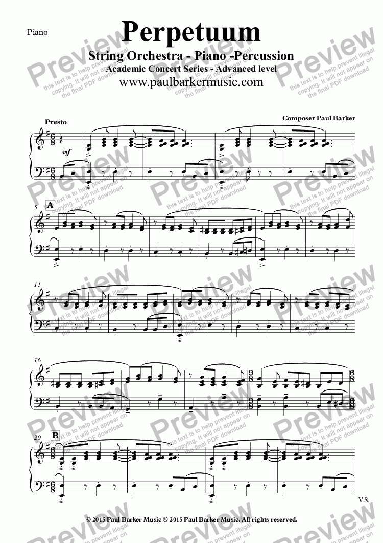 page one of the Piano part from Perpetuum (String Orchestra)