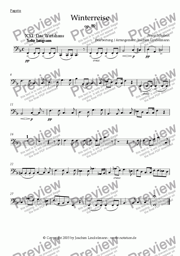 "page one of the Bassoon part from Schubert's ""Winterreise"" for woodwind quintet and tenor 21. ""Das Wirtshaus"""