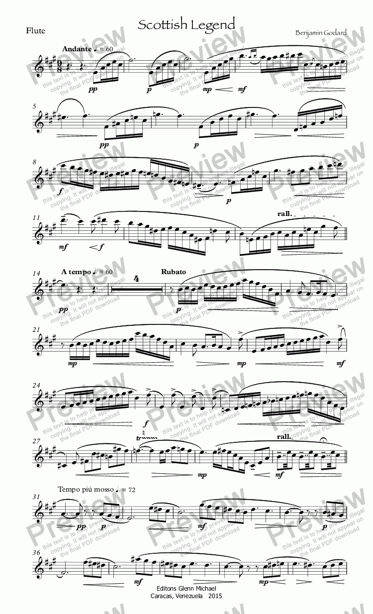 page one of the Flute part from Godard Scottish Legend fl & pno
