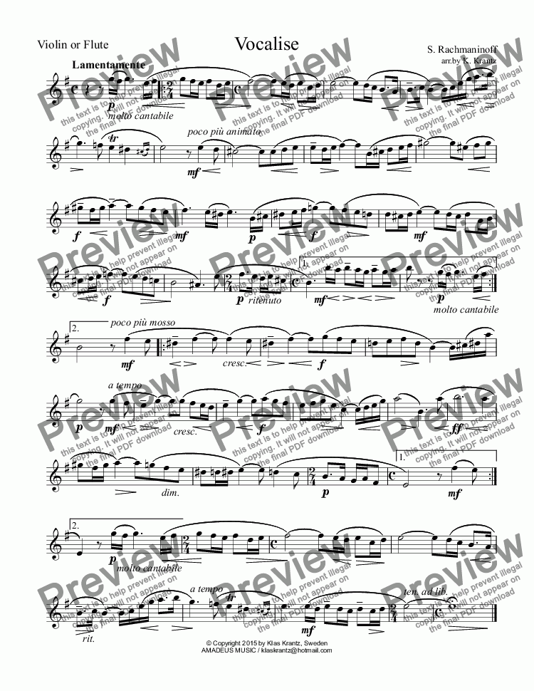 page one of the Flute or Violin part from Vocalise for violin or flute and guitar