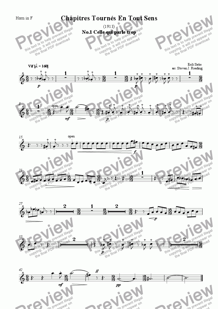 page one of the Horn part from Chapitres Tournes En Tout Sens for Brass Quintet