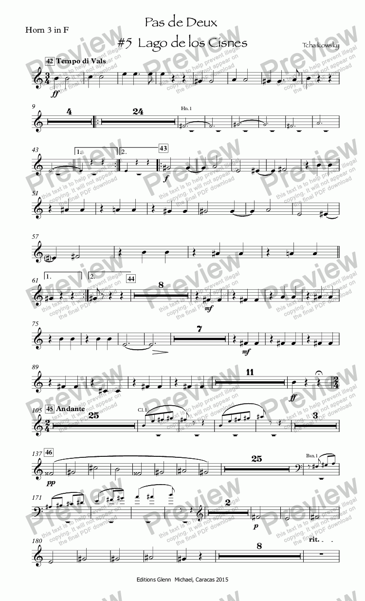 page one of the Horn 3 in F part from Tchaikowsky Swan Lake Pas de Deux  #5