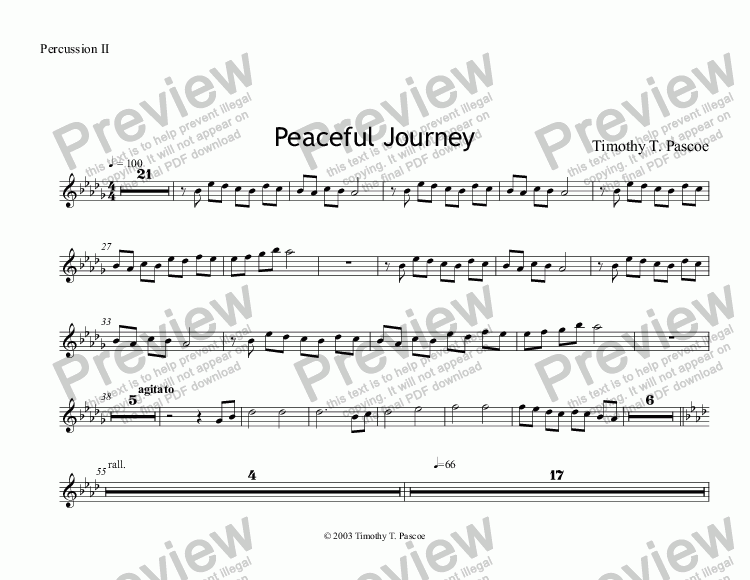 page one of the Percussion II part from Peaceful Journey (Brass Band)