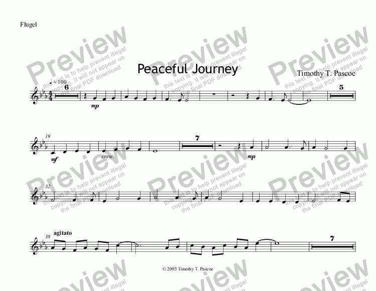 page one of the Flugel part from Peaceful Journey (Brass Band)