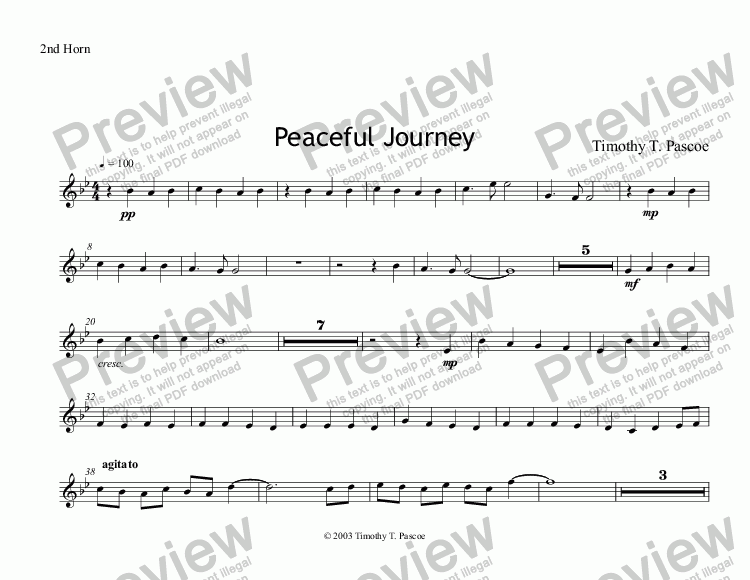 page one of the 2nd Horn part from Peaceful Journey (Brass Band)