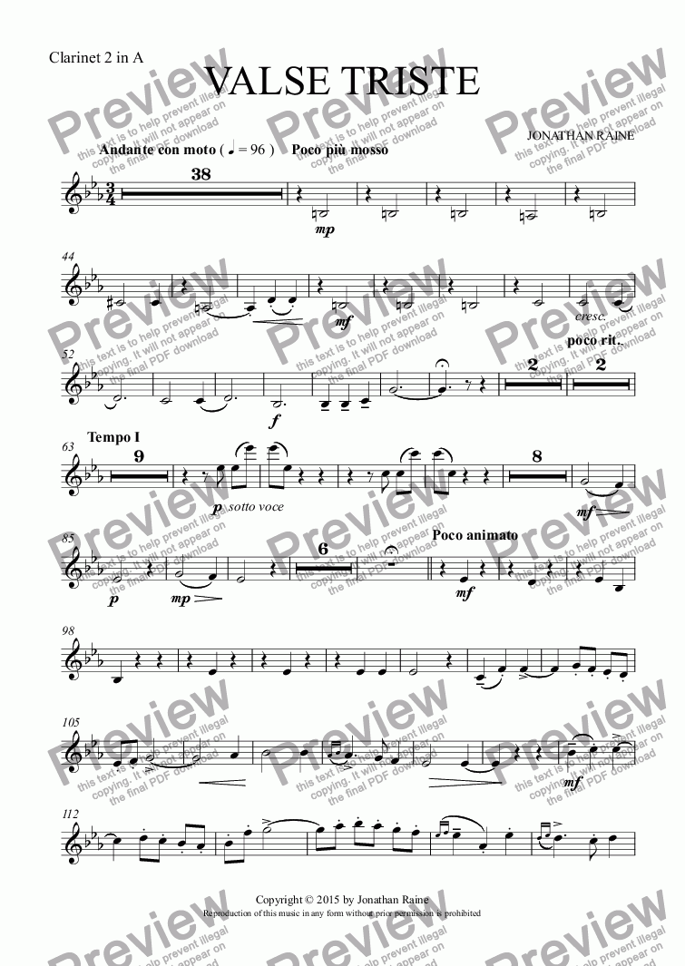 page one of the Clarinet 2 in A part from Valse Triste
