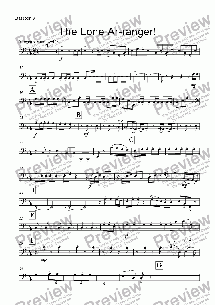 page one of the Bassoon 3 part from The Lone Ar-ranger! (Bassoon Quartet)