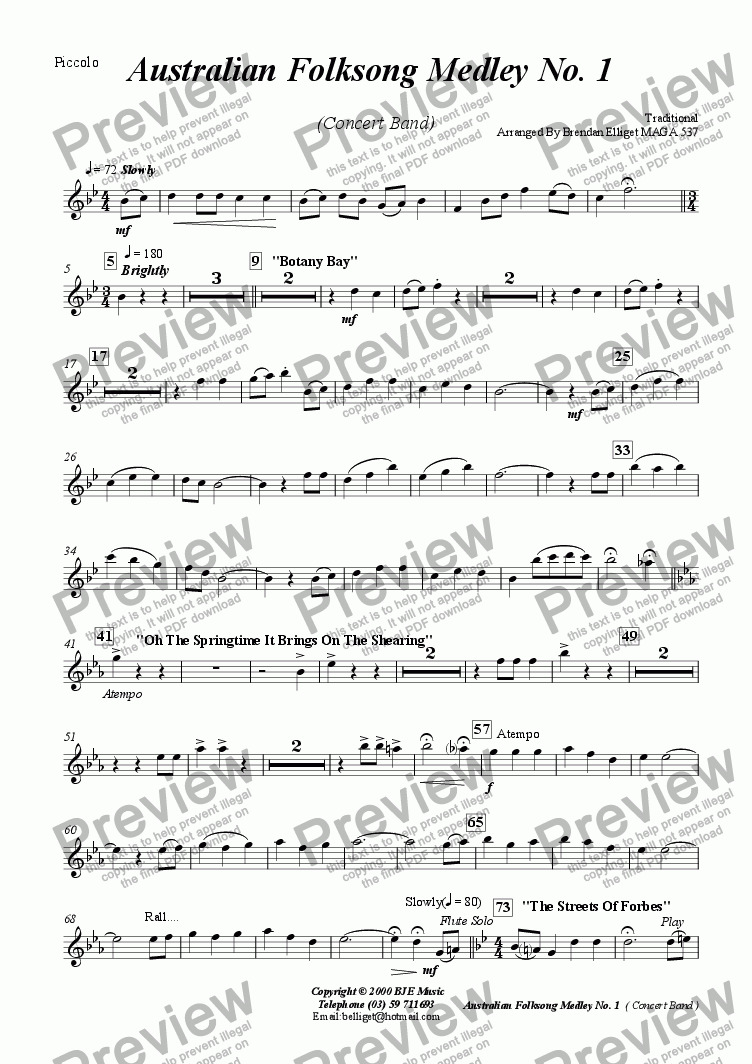 page one of the Piccolo part from Australian Folksong Medley No. 1 - Concert Band