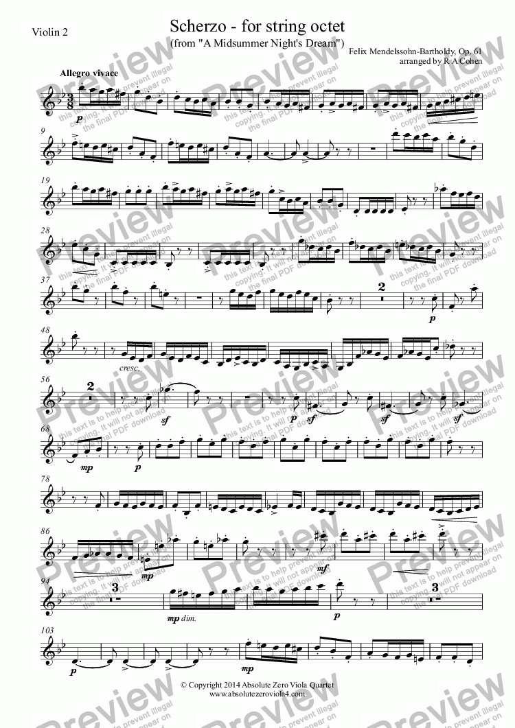 page one of the Violin 2 part from Mendelssohn - SCHERZO - for string octet