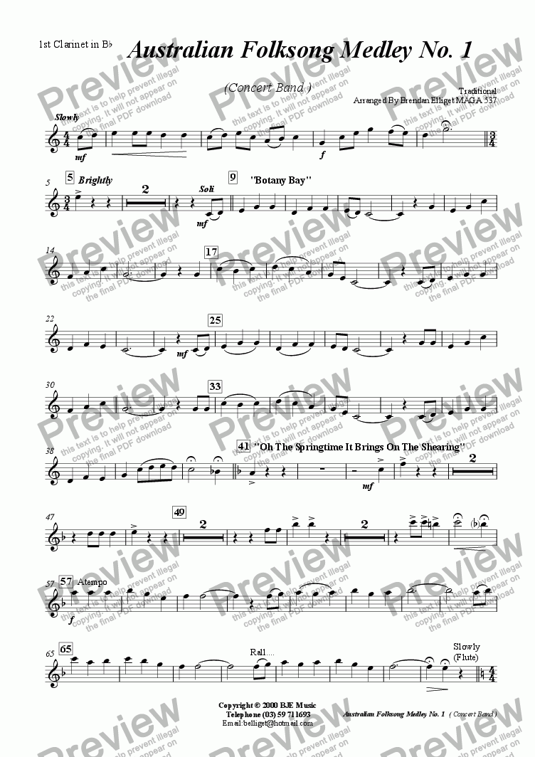 page one of the Ist Clarinet part from Australian Folksong Medley No. 1 - Concert Band