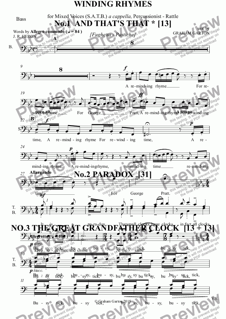page one of the Bass part from *SONG CYCLE - 'WINDING RHYMES' about clocks. Thirteen Light-Hearted - Vignettes for SATB a cappella with 1 Percussion (Rattle) - Words: J. R. Herono1 AND THAT'S THAT, No.2 PARADOX, NO.3 THE GREAT GRANDFATHER CLOCK Words: J. R. Heron