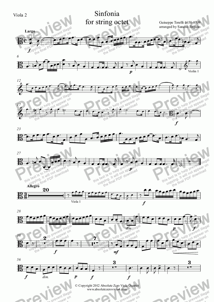 page one of the Viola 2 part from Torelli - SINFONIA - for string octet