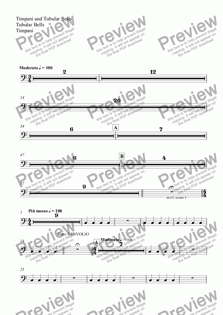 page one of the Timpani and Tubular Bells, Tubular Bells, Timpani part from Romeo and Juliet: Overture & Part One