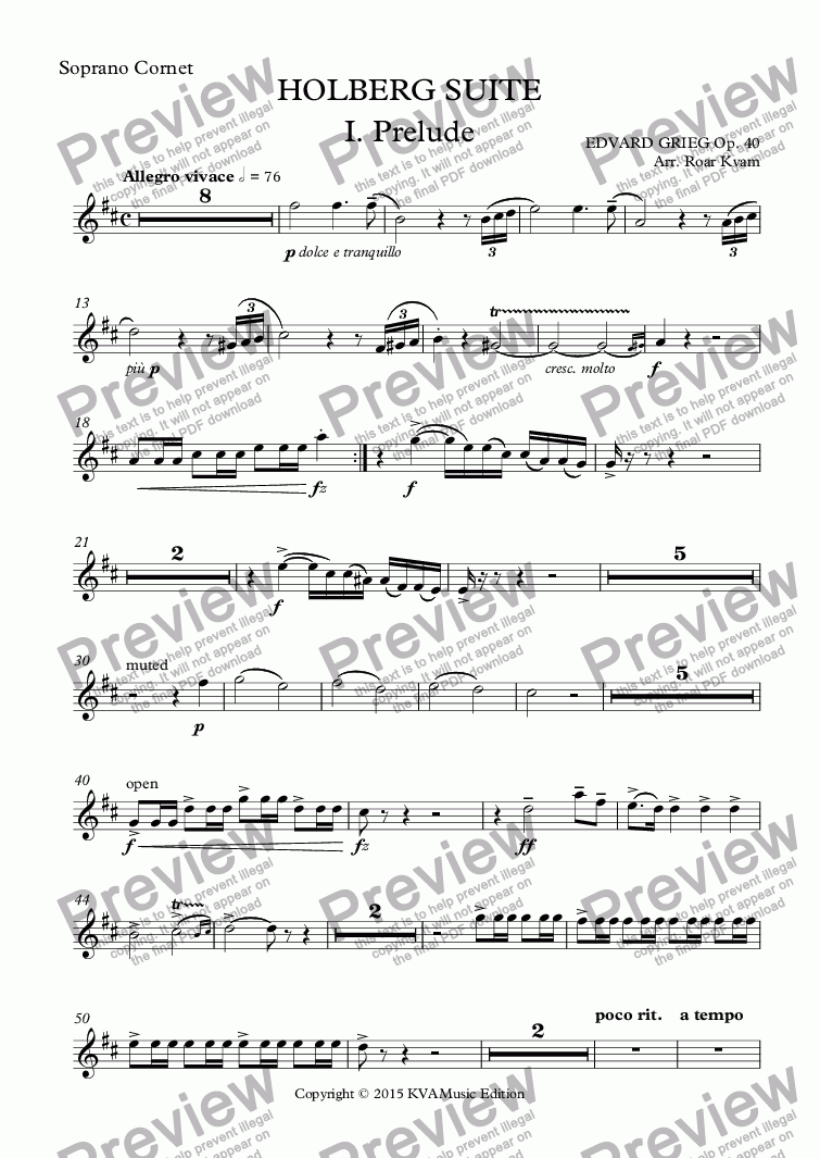 page one of the Soprano Cornet part from Grieg: Holberg Suite (Brass Band)