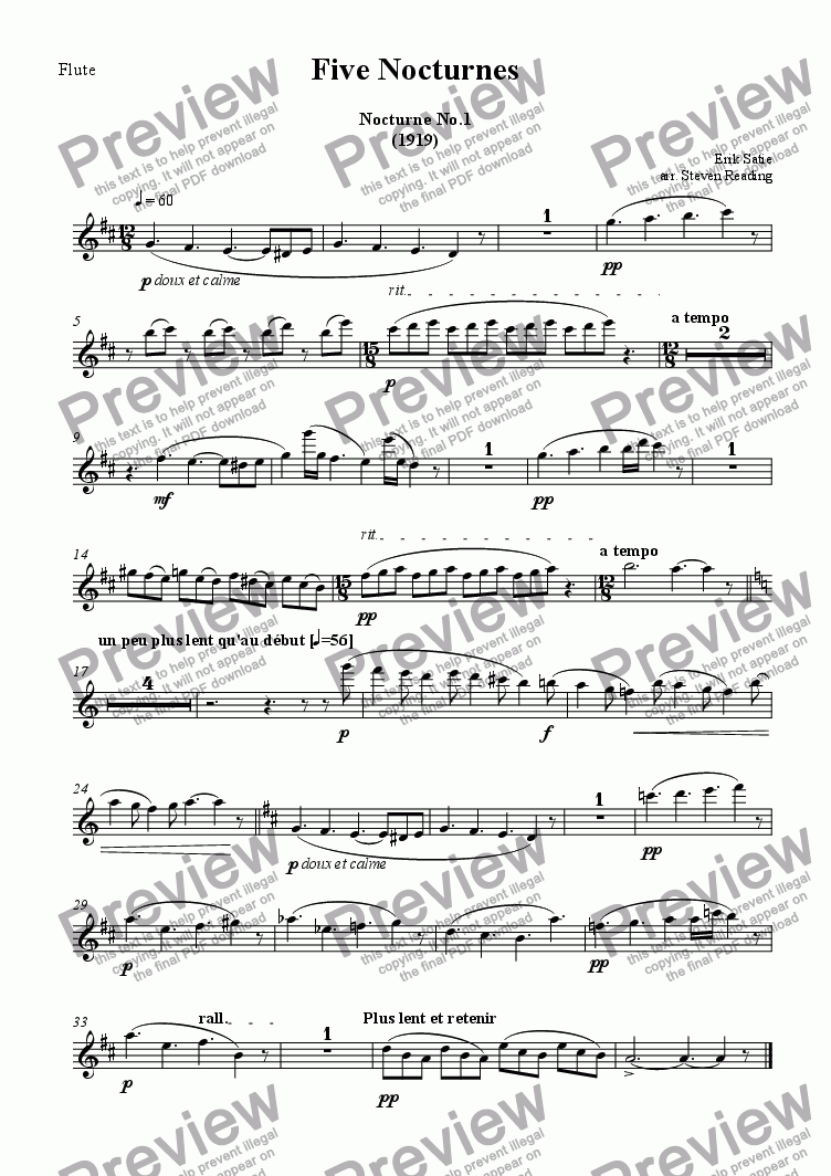 page one of the Flute part from 5 Nocturnes for Flute, Clarinet and Harp
