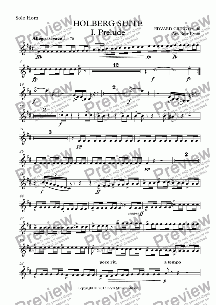 page one of the Solo Horn part from Grieg: Holberg Suite (Brass Band)
