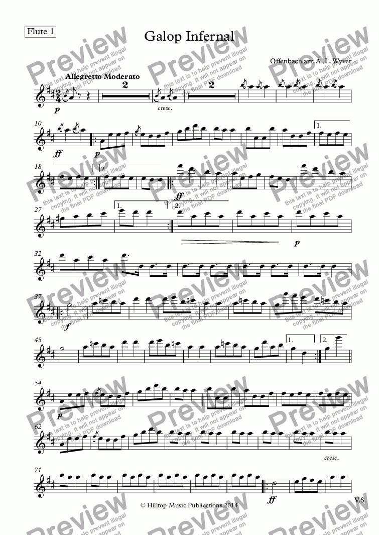 page one of the Flute 1 part from Galop Infernal arr. three flutes