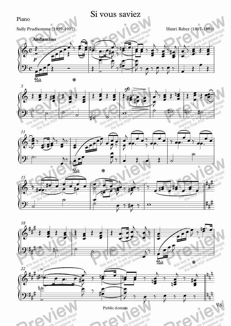 page one of the Piano part from Si vous saviez (Henri Reber / Sully Prudhomme)