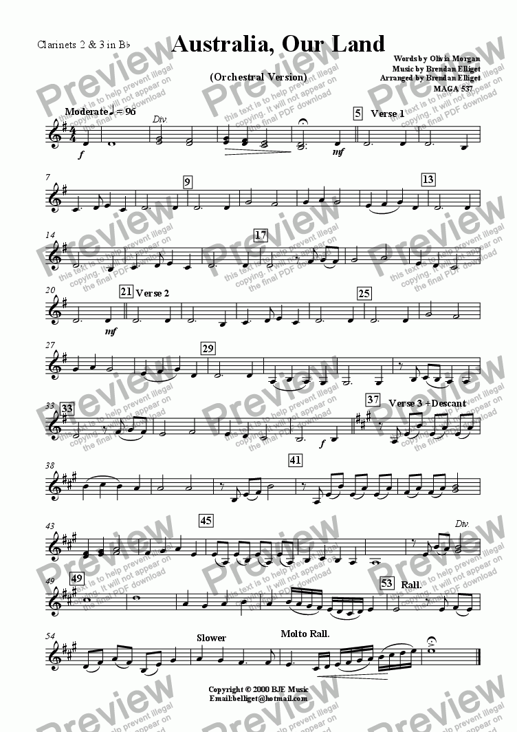 page one of the Clarinets 2 & 3 part from Australia Our Land - SATB Choir and Orchestra
