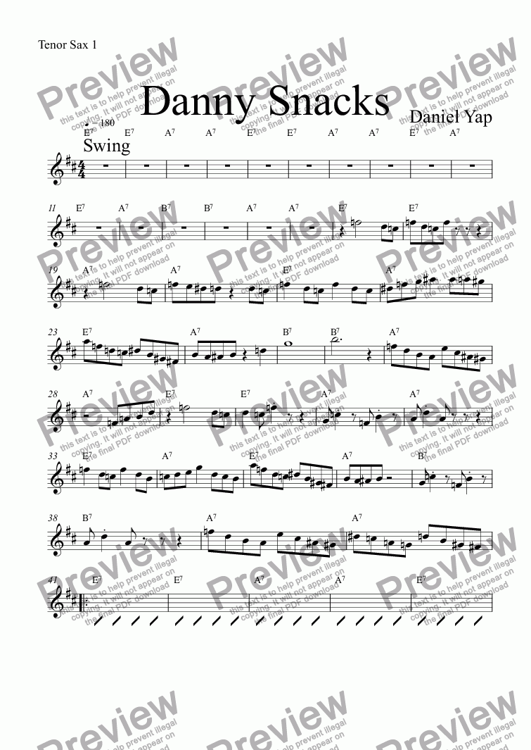 page one of the Tenor Sax 1 part from Danny Snacks