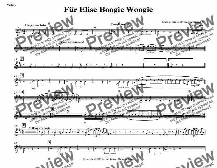 page one of the Violin 2 part from Für Elise Boogie Woogie for String Orchestra (Jazz for 5 Strings Series)