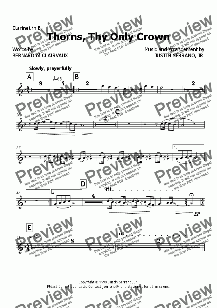page one of the Clarinet in Bb part from Thorns, Thy Only Crown